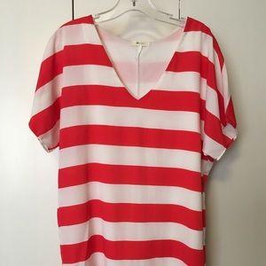 Bold red/white striped dress